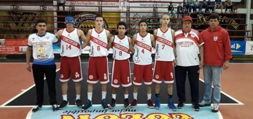 """De izquierda a derecha: Ever Genes (PF), José Barreto, Iván Amarilla, Iván Ibáñez, Sebastián Barreto, Angelo Griffith, César """"Piki"""" Caballero (DT) y Enrique Collante (AT)"""
