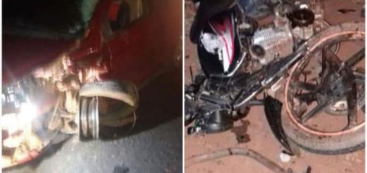 El automóvil y la motocicleta tras el percanse