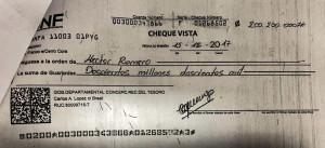 El cheque se  pago a orden de Héctor Romero