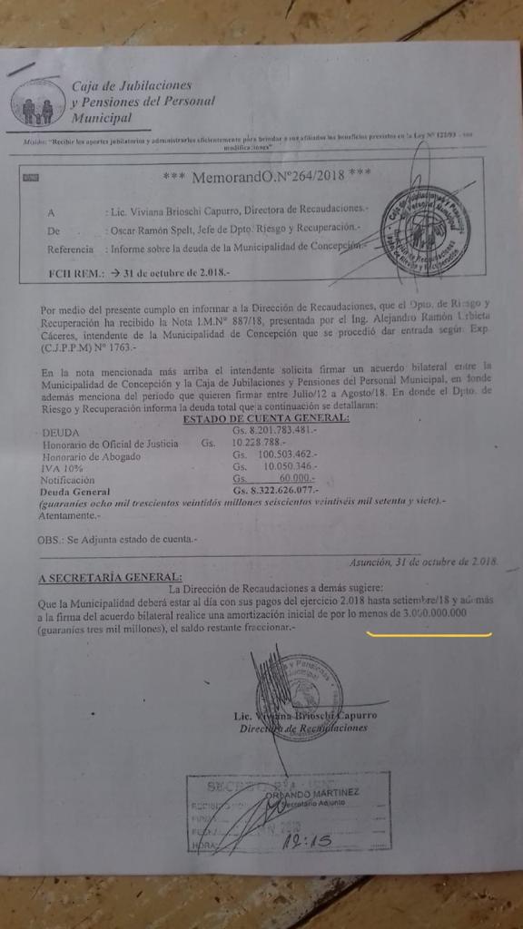 La cuenta total del municipio