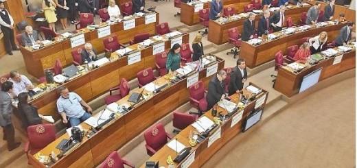 De pie. Por exigencia de María Eugenia Bajac, los senadores oraron en su primera sesión.